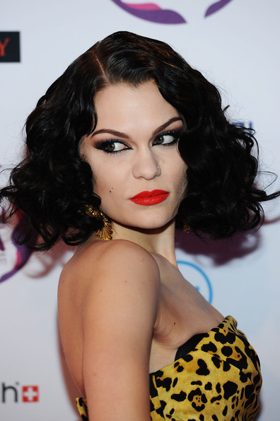 Jessie J Curled Out Bob [hair,face,lip,hairstyle,eyebrow,black hair,chin,beauty,long hair,ringlet,mtv europe music awards,odyssey arena,belfast,northern ireland,jessie j,arrivals]