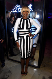 Mary J. Blige worked bold stripes with this black-and-white crop-top at the Jimmy Choo 20th anniversary event.