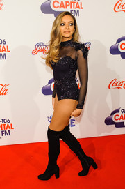 Jade Thirlwall ravished in an embellished, sheer-panel bodysuit at the Jingle Bell Ball.
