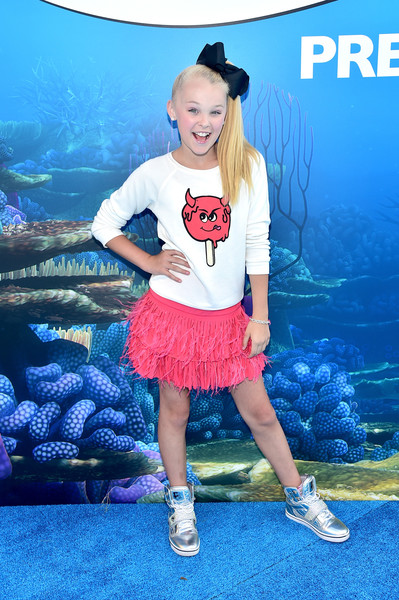 JoJo Siwa Leather Sneakers [finding dory,clothing,blue,electric blue,footwear,fashion,cheerleading,performance,shoe,t-shirt,child model,jojo siwa,california,hollywood,world premiere of disney-pixar,disney,the world premiere]