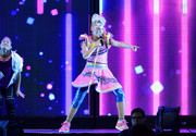 JoJo Siwa performed at the Honda Center wearing a multicolored beaded mini dress.
