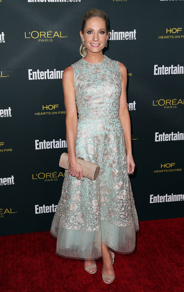 Joanne Froggatt Suede Clutch [dress,clothing,red carpet,carpet,fashion model,fashion,premiere,hairstyle,flooring,cocktail dress,party - arrivals,joanne froggatt,west hollywood,california,fig olive melrose place,entertainment weekly,pre emmy party]