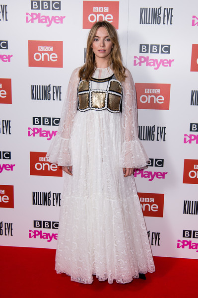 Jodie Comer Lace Dress [killing eve,red carpet,clothing,carpet,dress,premiere,flooring,fashion,shoulder,fashion design,long hair,series two premiere - arrivals,jodie comer,england,london,curzon soho,series two,premiere,jodie comer,killing eve,71st primetime emmy awards,actor,television,bbc america,primetime emmy award,photograph,livingly media]