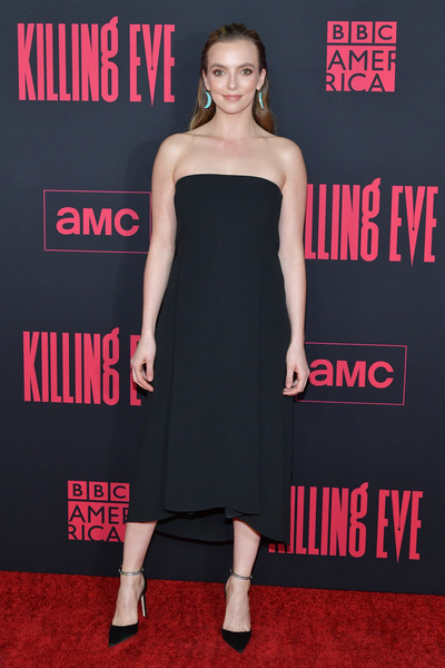 Jodie Comer Pumps [killing eve,season,dress,clothing,shoulder,strapless dress,cocktail dress,premiere,carpet,little black dress,fashion model,footwear,arrivals,jodie comer,arclight hollywood,california,bbc america,amc,premiere,premiere]