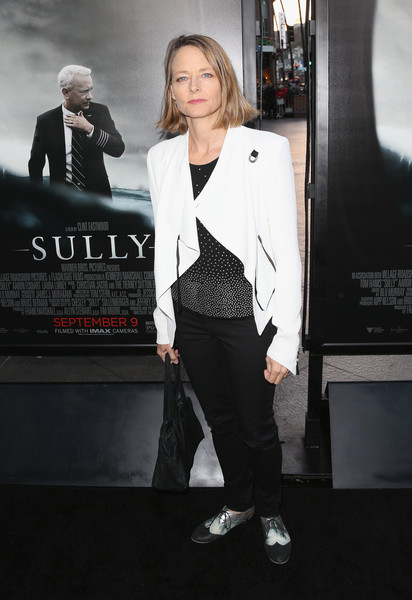 Jodie Foster Wingtips [clothing,suit,fashion,premiere,outerwear,formal wear,event,pantsuit,footwear,blazer,arrivals,sully,jodie foster,california,los angeles,warner bros. pictures,directors guild of america,screening,screening]