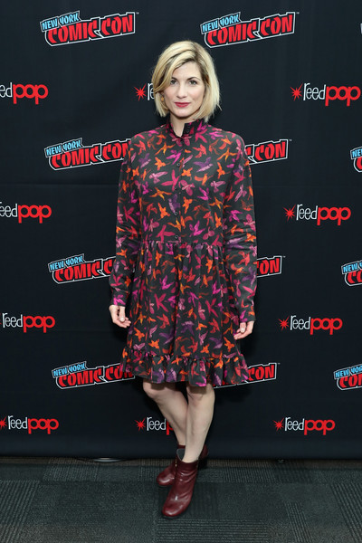 Jodie Whittaker Ankle Boots [clothing,flooring,fashion,premiere,carpet,footwear,event,plaid,fashion design,shoe,jodie whittaker,new york city,bbc america,doctor who global premiere,new york comic con]