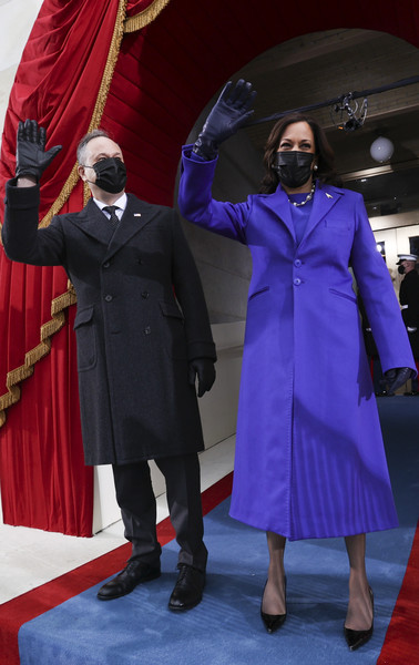 Kamala Harris looked radiant in a purple coat by Christopher John Rogers during Joe Biden's inauguration.