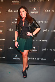 Rachael gave her funky look trendy appeal with cutout ankle boots.