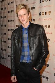 Gabriel Mann looked cool and casual in a black leather jacket at the John Varvatos 10 Years Celebration.