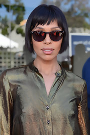 Wayfarere sunglasses topped off Tamara Taylor's edgy look at the John Varvatos Stuart House Benefit.