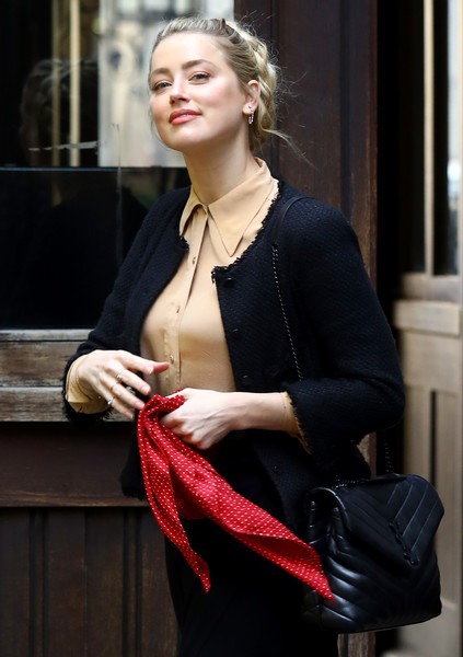 Amber Heard headed to Johnny Depp's libel trial carrying a chic black Saint Laurent bag.