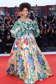 Zazie Beetz couldn't be missed in this voluminous off-the-shoulder floral gown by Valentino Couture at the Venice Film Festival screening of 'Joker.'