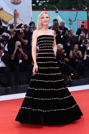 Cate Blanchett looked breathtaking, as always, in a strapless, striped velvet ballgown by Armani Privé at the Venice Film Festival screening of 'Joker.'