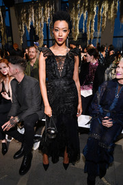 Samira Wiley attended the Jonathan Simkhai fashion show looking sweet in a black lace dress from the brand.