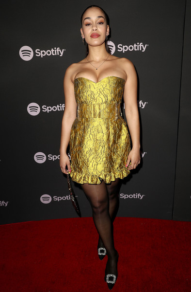 Jorja Smith Strapless Dress [clothing,dress,cocktail dress,fashion model,strapless dress,fashion,hairstyle,shoulder,yellow,carpet,spotify,best new artist,jorja smith,hammer museum,los angeles,california,party,best new artist party]