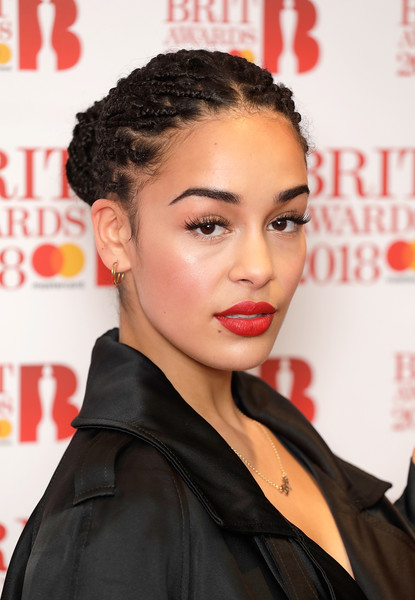 Jorja Smith Red Lipstick [hair,hairstyle,lip,eyebrow,beauty,chin,forehead,black hair,premiere,eyelash,jorja smith,brit awards,photocall,images,hair,hair,hairstyle,nominations,relation,event,jorja smith,hairstyle,braid,x,lipstick,long hair,box braids,hair,lips,afro]