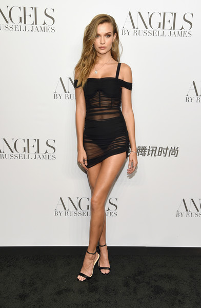 Josephine Skriver Sheer Dress [clothing,dress,shoulder,cocktail dress,fashion model,fashion,hairstyle,little black dress,leg,joint,arrivals,cindy crawford,candice swanepoel host angels,russell james,josephine skriver,angels,stephan weiss studio,russell james book launch and exhibit,exhibit,book launch]