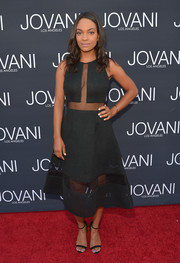 Lyndie Greenwood went for subtle sexiness in this sheer-panel LBD by Maslavi during the Jovani LA flagship opening.