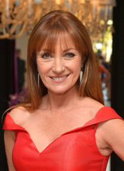 Jane Seymour wore her hair loose and straight (with her signature bangs, of course) at the Jovani LA flagship opening.