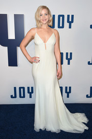 Jennifer Lawrence looked angelic (with a mildly sexy twist) in a white silk chiffon slip dress by Christian Dior Couture at the New York premiere of 'Joy.'
