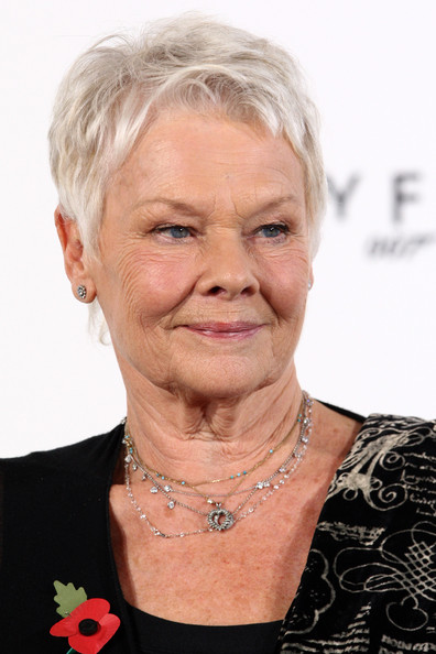 Judi Dench Pixie [bond film - photocall,hair,face,chin,skin,wrinkle,head,hairstyle,blond,neck,grandparent,filmmakers,cast,judi dench,photocall,title,production,uk,tabloid newspapers,start]