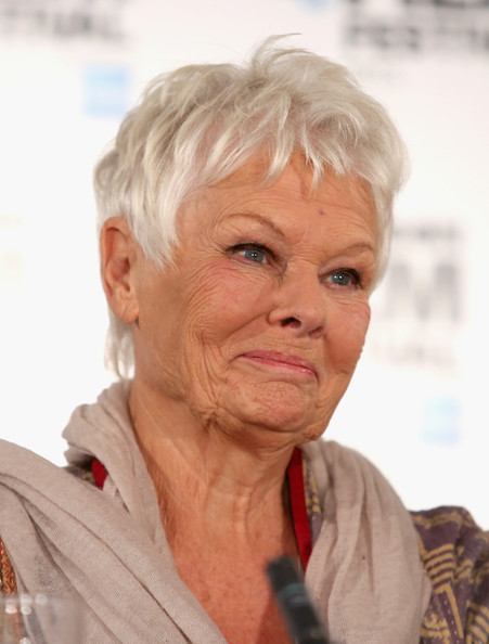 Judi Dench Pixie [hair,wrinkle,skin,chin,hairstyle,human,forehead,blond,grandparent,london,england,claridges hotel,philomena - press conference: 57th bfi london film festival,press conference,bfi london film festival,dame judi dench,philomena]