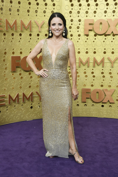 Julia Louis-Dreyfus Beaded Dress [dress,red carpet,clothing,carpet,gown,shoulder,flooring,hairstyle,lady,fashion,arrivals,dress,gown,cocktail dress,carpet,julia louis-dreyfus,emmy awards,red carpet,celebrity,fashion,red carpet,celebrity,cocktail dress,gown,fashion,supermodel,photo shoot,haute couture,socialite,dress]