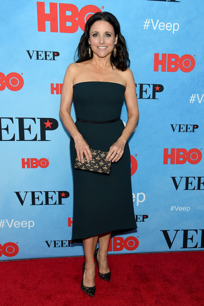 Julia Louis-Dreyfus Strapless Dress [veep,season,dress,clothing,cocktail dress,shoulder,premiere,carpet,little black dress,footwear,red carpet,waist,anna chlumsky,screening - arrivals,new york,sva theater,new york screening]