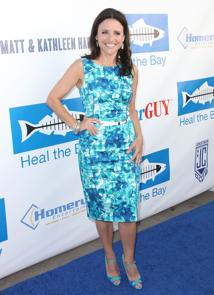 Julia Louis-Dreyfus Peep Toe Pumps [bring back the beach fundraiser,clothing,dress,red carpet,carpet,cocktail dress,premiere,shoulder,electric blue,footwear,flooring,julia louis-dreyfus,santa monica,california,heal the bay]