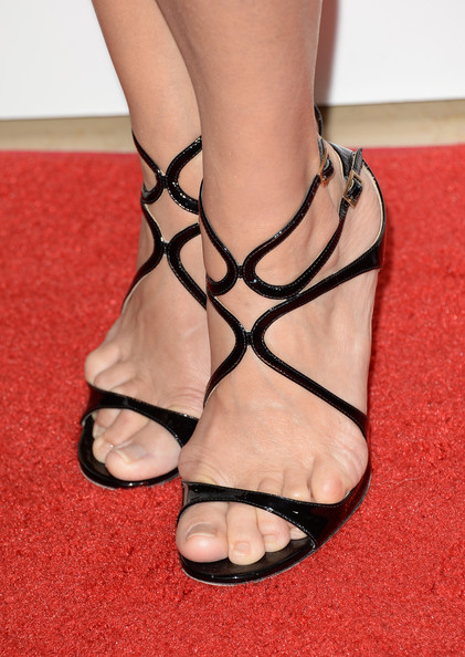 Julia Louis-Dreyfus Strappy Sandals [footwear,sandal,leg,ankle,foot,shoe,toe,high heels,joint,close-up,arrivals,julia louis-dreyfus,shoe detail,the beverly hilton hotel,california,los angeles,broadcast television journalists association,third annual critics choice television awards]