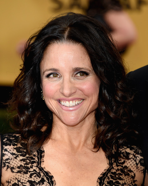 Julia Louis-Dreyfus Medium Curls [hair,facial expression,eyebrow,human hair color,beauty,hairstyle,smile,chin,long hair,black hair,arrivals,julia louis-dreyfus,screen actors guild awards,los angeles,california,the shrine auditorium]