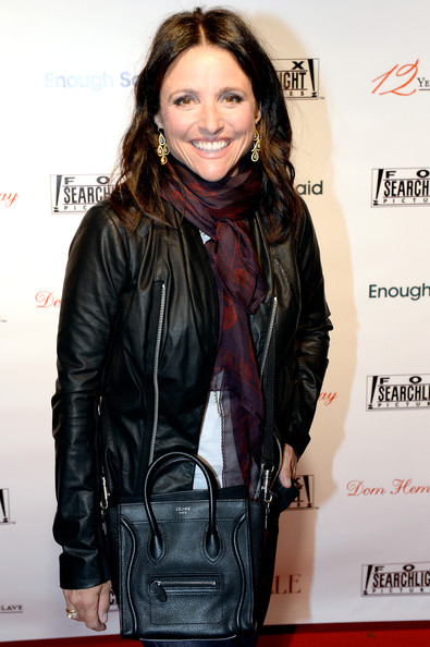 Julia Louis-Dreyfus Cross Body Tote [leather,clothing,leather jacket,jacket,hairstyle,outerwear,textile,layered hair,long hair,brown hair,party - arrivals,julia louis-dreyfus,toronto,canada,spice route,fox searchlight,party,fox searchlight tiff,toronto international film festival]