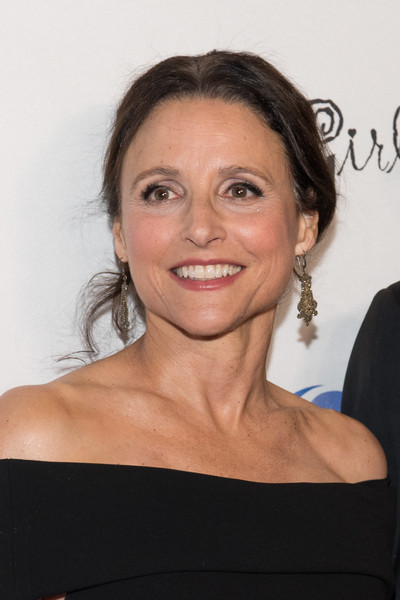 Julia Louis-Dreyfus Messy Updo [hair,face,eyebrow,hairstyle,chin,shoulder,skin,beauty,lip,forehead,arrivals,julia louis-dreyfus,california,los angeles,avalon hollywood,national breast cancer coalition,18th annual les girls cabaret]