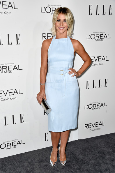 Julianne Hough Tube Clutch [julianne hough,21st annual women in hollywood - arrivals,clothing,dress,cocktail dress,shoulder,hairstyle,joint,fashion model,fashion,footwear,blond,beverly hills,21st annual women in hollywood,four seasons hotel,california,los angeles,elle]