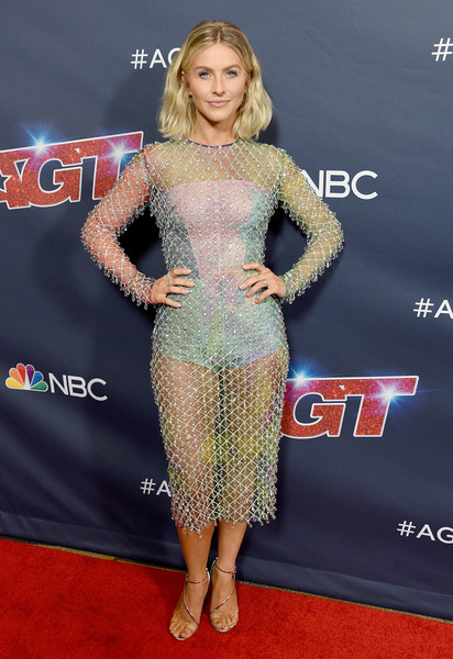 Julianne Hough Sheer Dress [americas got talent,season,red carpet,clothing,carpet,dress,premiere,hairstyle,cocktail dress,flooring,fashion,shoulder,red carpet,julianne hough,california,hollywood,dolby theatre]
