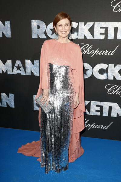 Julianne Moore Sequin Dress [shoulder,clothing,red carpet,premiere,carpet,dress,hairstyle,fashion,flooring,joint,rocketman cannes gala party arrivals,julianne moore,rocketman gala party,cannes,france,annual cannes film festival]