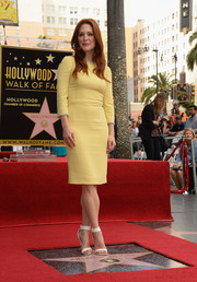 Julianne Moore teamed white ankle-strap sandals by Givenchy with a yellow Dolce & Gabbana sheath for a totally classy look during her Hollywood Walk of Fame ceremony.