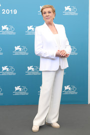 Julie Andrews attended the Venice Film Festival Golden Lion Award photocall wearing a white pantsuit.