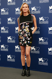 Diane Kruger opted for a Preen nautical-inspired floral dress for the Venice Film Festival jury photocall.