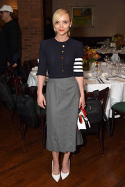 Christina Ricci attended the 2017 Tribeca Film Festival jury welcome lunch looking casual-chic in a nautical knit top.