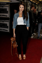Lucy Pinder kept it casual in a cropped denim jacket and a pair of slacks at the gala screening of 'Just for the Record.'