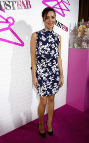 Aubrey Plaza was all abloom in a navy and white floral mini dress during the JustFab ready-to-wear launch.