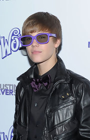 Justin rocks a pair of purple wayferers for his 'Never Say Never' New York premiere.