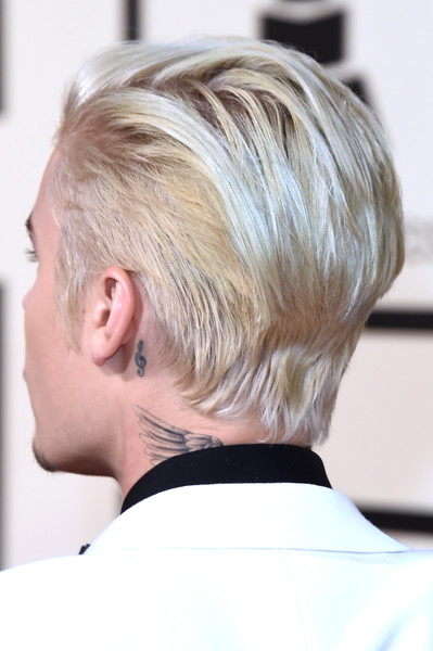 Justin Bieber Artistic Design Tattoo [hair,hairstyle,face,blond,chin,neck,ear,hair coloring,comb over,asymmetric cut,arrivals,justin bieber,grammy awards,staples center,los angeles,california,58th grammy awards]