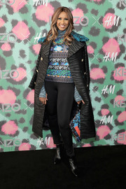 Iman was a rock star in a fur-collar, zebra-print coat by Kenzo x H&M during the collaboration's launch event.