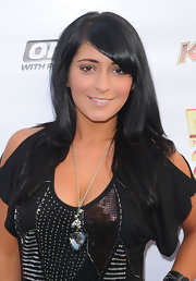 Angelina Pivarnick wore her long hair in a side part at the 'Now 34 and the Jersey Shore' party.