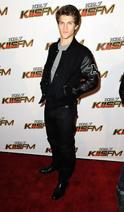 Keegan Allen rocked a varsity jacket at the KIIS FM's Jingle Ball.