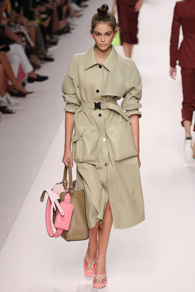Kaia Gerber Pumps [fashion model,fashion show,fashion,runway,clothing,shoulder,trench coat,coat,public event,beige,kaia gerber,fendi - runway,runway,milan,italy,fendi,milan fashion week,show,milan fashion week spring]