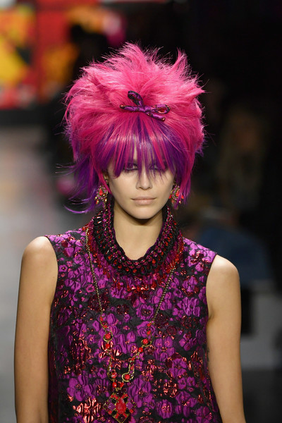 Kaia Gerber Oversized Pendant Necklace [shows,the shows,hair,fashion,pink,purple,hair coloring,red,hairstyle,violet,haute couture,magenta,anna sui,kaia gerber,anna sui - runway,runway,new york city,spring studios,new york fashion week,fashion show]