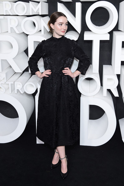 Kaitlyn Dever Evening Pumps [clothing,dress,little black dress,shoulder,cocktail dress,black-and-white,fashion model,fashion,neck,premiere,kaitlyn dever,new york city,nordstrom nyc flagship,nordstrom nyc flagship opening party,party]